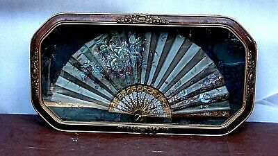 ANTIQUE 19c FRENCH VICTORIAN SILK HAND PAINTED FAN IN SHADOW GILT ORNATE FRAME