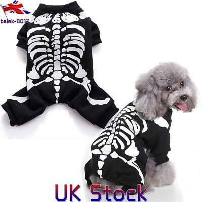UK Pet Halloween Costume Dog Cat Spooky Fancy Horror Skeleton Dress Party Outfit