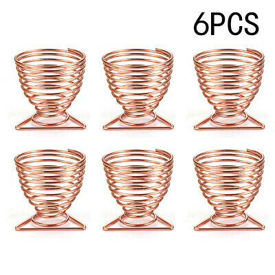 6X Copper Spiral Wire Egg Holder Serving Cups Sponge Holders New