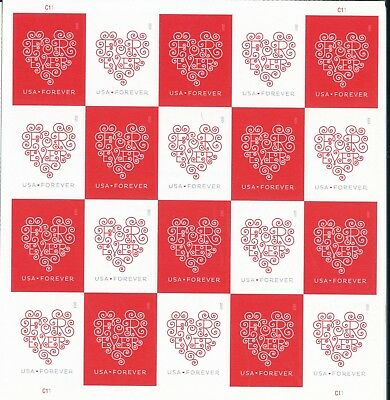 U.s. #4955-56 Forever Love Hearts Mint Sheet/20 Nh Og No Die Cuts