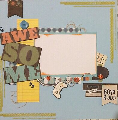 handmade scrapbook page 12 X 12 Awesome Boys Rule Themed Layout