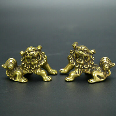 Chinese old collection handwork brass A pair of lions palace gate lion statues