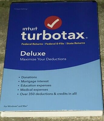 Intuit Turbotax Deluxe Federal + State 2018 Tax Software Window/ MAC