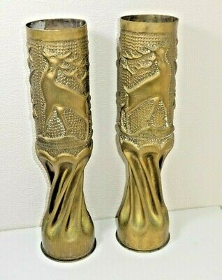 Ww1 Trench Art Worked Artillery Shell Cases Barley Twist Pair Stag Embossed D