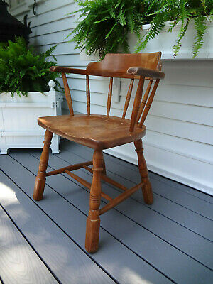 Vtg Temple Stewart Nautical Windsor Ship Captains Tavern Dining Maple Arm Chair