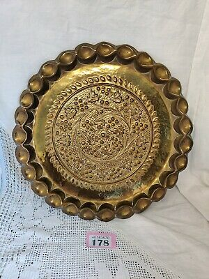 "Beautiful Arts And Crafts Wall Hangable Brass Tray / Plate 12.5"" Diameter"
