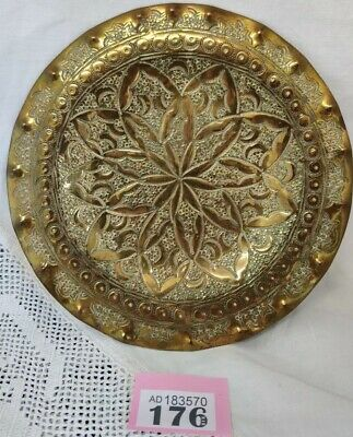 """Stunning Arts And Crafts BRASS DECORATED PLATE 7.75"""" Diameter"""