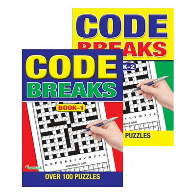 2 x Code Breaker Codebreakers Puzzle Book A4 258 Puzzles Trivia Crossword Books