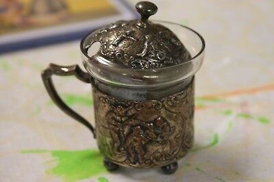 decorative Silver and Glass Mustard pot