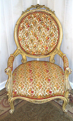 Antique Louis XVI Silk & Floral Chair Wood Carved Roses Oval Pin Back
