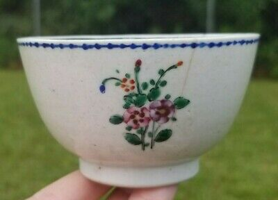 Antique Chinese Export Tea Cup Small Bowl Hand Painted Flowers China