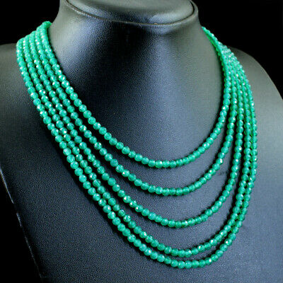 265.00 Cts Natural 5 Line Green Onyx Round Shape Faceted Beads Necklace NK 15E81