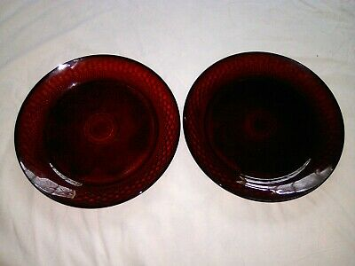 """1 Pair Vintage Cranberry Cut Glass 10 1/4"""" Dinner Plate Marked France 21"""