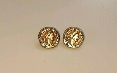 Vintage 2 x embossed etched brass metal buttons shank Alexander the Great