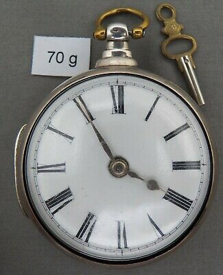 Antique 1839 Hallmarked Sterling Verge Fusee, London, Pair Case