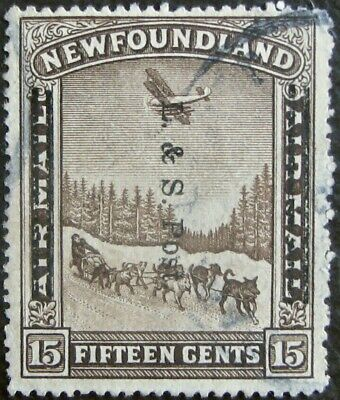 """NEWFOUNDLAND #211: F/VF Used 15-Cents """"Land & Sea Post"""" overprint issue"""