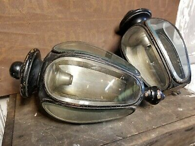Antique PAIR Coach Lantern Bevelled Curved Glass Carriage Lamps Brass Copper