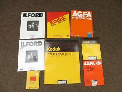 Assorted Kodak ilford & Agfa photographic paper 8 assorted sizes EXPIRED