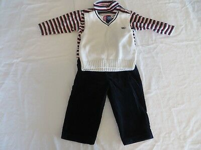 Boys Outfit Black Cord Pants LS Stripe Turtleneck Shirt and Chaps Vest 18M #6876