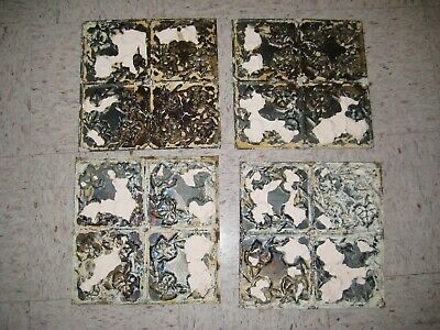 Lot Salvaged Reclaimed Tin Metal Ceiling Tiles Chippy White Ivy Farmhouse 12x12