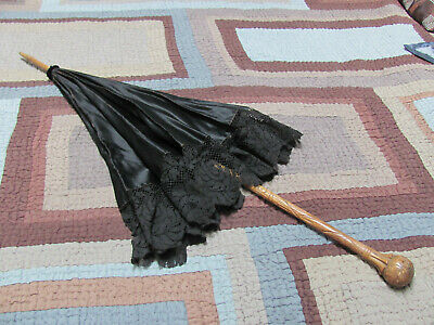 VICTORIAN *Blck SILK Mourning PARASOL w/AESTHETIC MOVEMENT Carved WOOD HANDLE NR