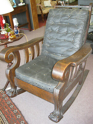 Antique Tiger OAK Rocking Chair Massive Vintage Mission Victorian Rocker
