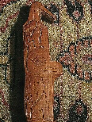 """CUSTOM CARVED TOTEM POLE,  Ethnic Design 11"""" tall > Solid Wood"""