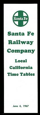 ⫸ 514 Santa Fe Railway Company Local California Time Tables 6-4-1967