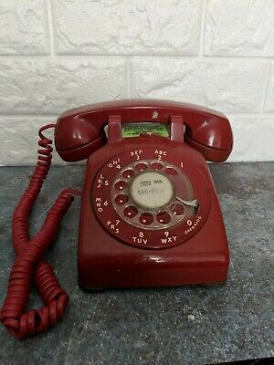 Vintage 1950's Red Bell System Western Electric Rotary Dial Desk Phone