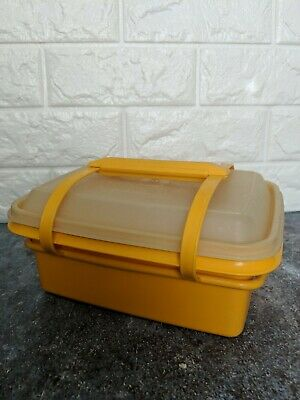 Vintage Yellow Tupperware Pack N Carry Lunch Box with Handles Lid 1254 Lunchbox