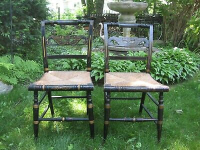 2 Vintage Hitchcock Style Side Dining Chairs Black Stenciled Rush Seats