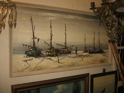 "Sailing Fishing Boats 37"" Signed Mid Century Original Oil Painting Wood Board 63"