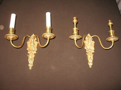 Pair Vintage Ornate Solid Brass Wall Sconce 2 Light Victorian Style  Small Bulb