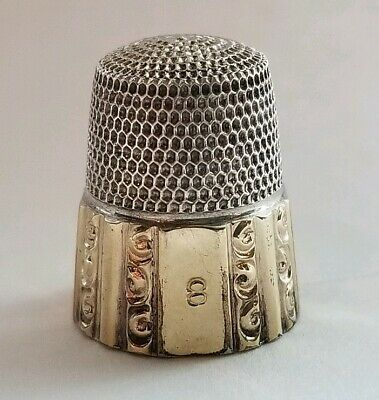 Vintage Sewing Sterling Silver Thimble Gold Band Ornate Scrolls Size 8