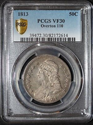 1813 Capped Bust Half Dollar PCGS VF30 Overton 110