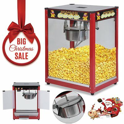 1370W Commercial Stainless Steel Popcorn Machine Red Pop Corn Warmer Cooker iV