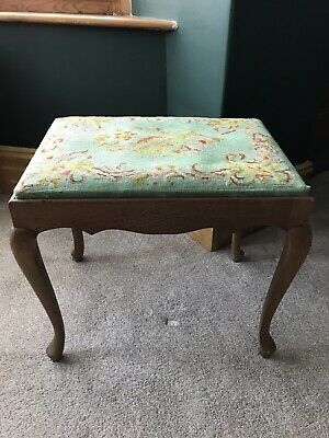 Antique/ Vintage Tapestry Seat Large Piano Stool On Wooden Cabriole Legs