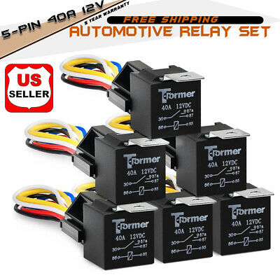 12V 40A 5 Pins Dc Amp SPDT Car Relays + Socket Car Starter Auto Relay Universal