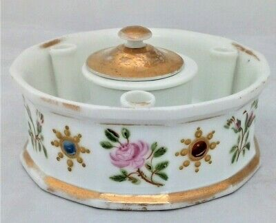 French Porcelain Ink Well or Stand with Pen Holders Hand Painted Antique c 1880