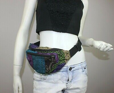 Bumbag Hippie Fanny pack Cotton Running travel waist pouch passport zip wallet