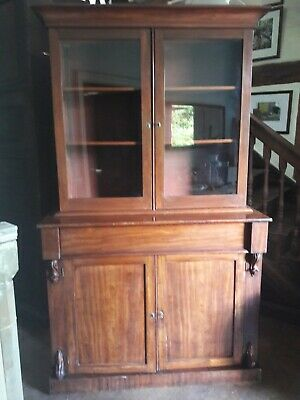 Antique mahogany chiffoniere bookcase with glazed display top