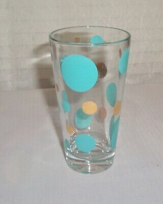 Mid Century Retro Atomic Gold & Aqua Colored Bubbles Cocktail Barware Glass