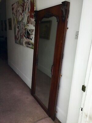 Huge Antique Victorian Mahogany Wall Mirror