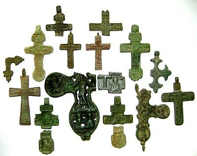 Ancient lot of 17 bronze damaged pectoral Believer crosses / parts Middle Ages.