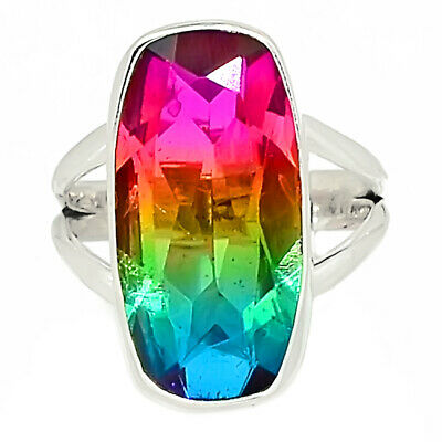Multi Tourmaline Quartz 925 Sterling Silver Ring Jewelry s.6 AR92399