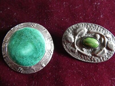 2 X ANTIQUE ARTS & CRAFTS PEWTER RUSKIN-STYLE GREEN CABOCHON BROOCH ~ c 1900