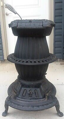 Antique Cast Iron Pot Belly Coal Wood Stove Lebanon Stove Works PA Jewel 11 1873
