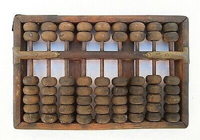 Old Antique Hand Made Wood Abacus Chinese/ Asian 9 Rows 63 Beads For Restoration