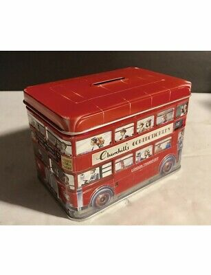 "Churchill's Confectionery Double Decker London Bus Tin Piggy Bank, 4.75"" Long"