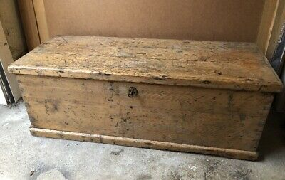 Vintage Antique Wooden Trunk Chest